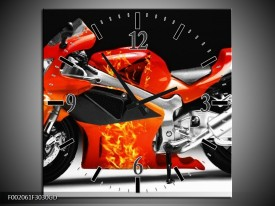Wandklok op Glas Motor | Kleur: Rood, Zwart, Wit | F002061CGD