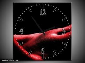 Wandklok op Glas Vrouw | Kleur: Rood, Zwart | F002070CGD