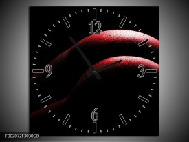 Wandklok op Glas Lichaam | Kleur: Zwart, Rood | F002072CGD