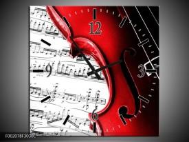 Wandklok op Canvas Instrument | Kleur: Zwart, Wit, Rood | F002078C