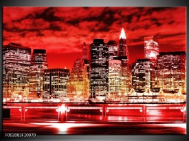 Glas schilderij Gebouw   Rood, Zwart, Geel
