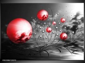 Glas schilderij Ballen | Rood, Zwart, Grijs