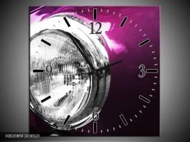 Wandklok op Glas Auto | Kleur: Paars, Wit, Zilver | F002089CGD