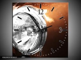 Wandklok op Glas Auto   Kleur: Bruin, Wit, Zilver   F002091CGD