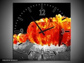 Wandklok op Glas Macro | Kleur: Zwart, Grijs, Oranje | F002093CGD