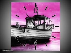 Wandklok op Canvas Boot | Kleur: Zwart, Wit, Paars | F002095C