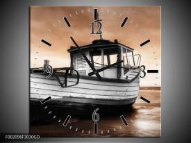 Wandklok op Glas Boot | Kleur: Zwart, Wit, Bruin | F002096CGD
