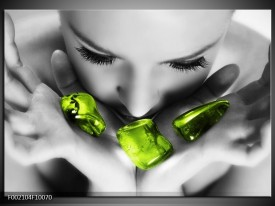 Glas schilderij Gezicht | Zwart, Grijs, Groen