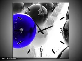 Wandklok op Glas Ballen | Kleur: Zwart, Wit, Blauw | F002105CGD