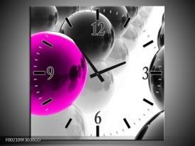 Wandklok op Glas Ballen | Kleur: Zwart, Wit, Roze | F002109CGD