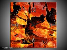 Wandklok op Canvas Dansen | Kleur: Zwart, Oranje, Geel | F002118C