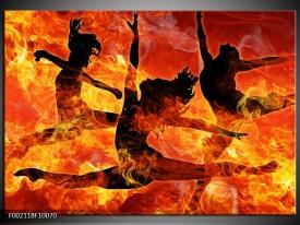 Glas schilderij Dansen   Zwart, Oranje, Geel