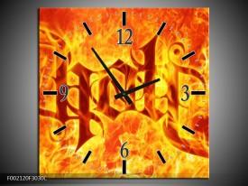 Wandklok op Canvas Vuur | Kleur: Zwart, Oranje, Geel | F002120C