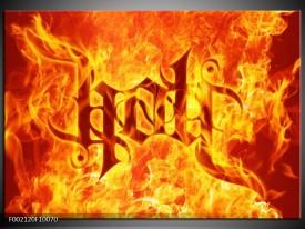 Glas schilderij Vuur | Zwart, Oranje, Geel