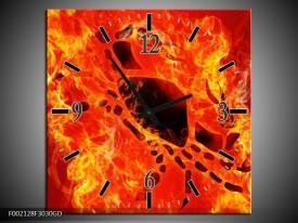 Wandklok op Glas Vuur | Kleur: Zwart, Oranje, Geel | F002128CGD