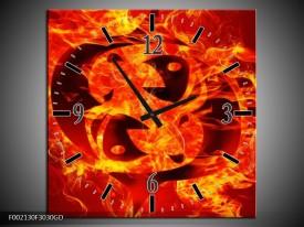 Wandklok op Glas Vuur | Kleur: Zwart, Oranje, Geel | F002130CGD