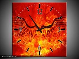Wandklok op Glas Vuur | Kleur: Zwart, Oranje, Geel | F002131CGD