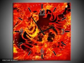 Wandklok op Glas Vuur | Kleur: Zwart, Oranje, Geel | F002144CGD