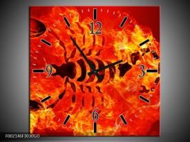 Wandklok op Glas Vuur | Kleur: Zwart, Oranje, Geel | F002146CGD