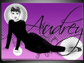 Glas schilderij Audrey | Zwart, Wit, Paars