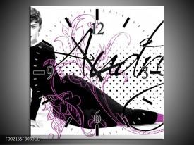 Wandklok op Glas Audrey | Kleur: Zwart, Wit, Paars | F002155CGD