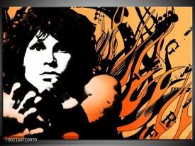 Glas schilderij Muziek | Zwart, Wit, Oranje