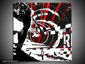 Wandklok op Glas Popart | Kleur: Zwart, Wit, Rood | F002193CGD
