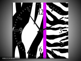 Wandklok op Canvas Zebra | Kleur: Paars, Wit, Zwart | F002211C