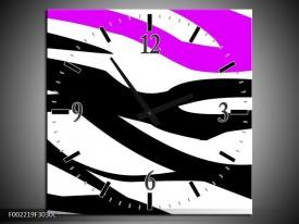Wandklok op Canvas Zebra | Kleur: Paars, Zwart, Wit | F002219C