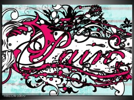 Foto canvas schilderij Popart | Zwart, Wit, Roze