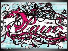 Glas schilderij Popart | Zwart, Wit, Roze