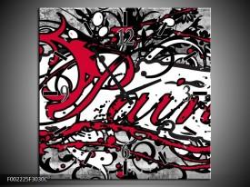 Wandklok op Canvas Popart | Kleur: Zwart, Wit, Rood | F002225C