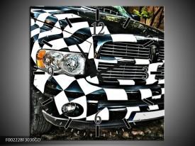 Wandklok op Glas Auto | Kleur: Zwart, Wit, Blauw | F002228CGD