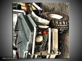 Wandklok op Glas Auto | Kleur: Grijs, Groen | F002229CGD