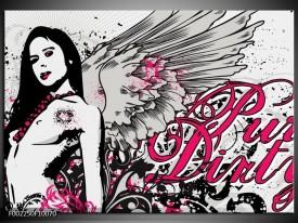 Foto canvas schilderij Popart | Zwart, Roze, Wit