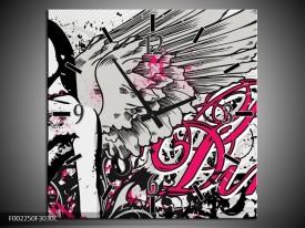 Wandklok op Canvas Popart   Kleur: Zwart, Roze, Wit   F002250C