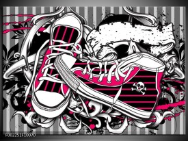 Glas schilderij Popart | Zwart, Roze, Wit