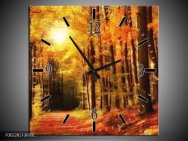 Wandklok op Canvas Herfst | Kleur: Geel, Oranje, Bruin | F002281C