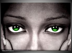 Foto canvas schilderij Gezicht | Zwart, Wit, Groen