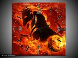 Wandklok op Glas Paard | Kleur: Rood, Geel, Oranje | F002307CGD