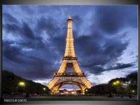Foto canvas schilderij Eiffeltoren | Blauw, Grijs, Geel