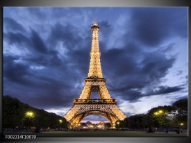 Glas schilderij Eiffeltoren | Blauw, Grijs, Geel