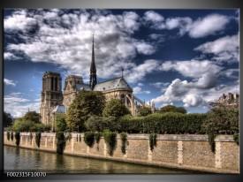 Foto canvas schilderij Notre Dame | Grijs, Blauw, Groen