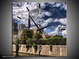 Wandklok op Canvas Notre Dame | Kleur: Grijs, Blauw, Groen | F002315C