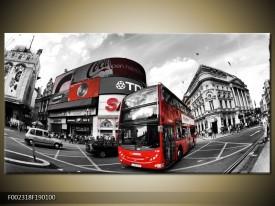 Canvas schilderij London | Zwart, Grijs, Rood | 190x100cm 1Luik