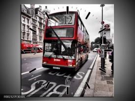Wandklok op Canvas Engeland | Kleur: Zwart, Rood, Wit | F002327C