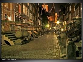 Foto canvas schilderij Straat | Groen, Bruin, Geel