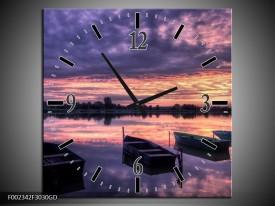 Wandklok op Glas Boot | Kleur: Paars, Wit, Zwart | F002342CGD