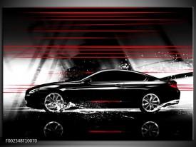Glas schilderij Auto   Zwart, Rood, Grijs