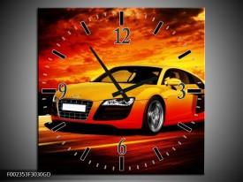 Wandklok op Glas Audi   Kleur: Geel, Oranje, Zwart   F002353CGD